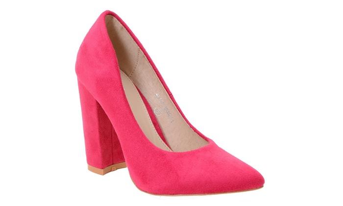 Chunky Heel Round Toe Platform Pump Vegan Women's