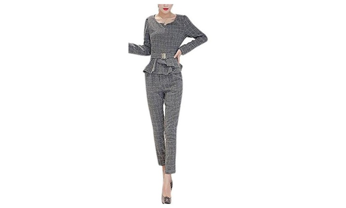 Women's Silm Long Sleeve Harem Trousers 2 piece Suit Pant Set