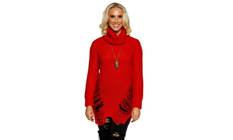 Xehar Womens Stylish Ribbed Knit Turtleneck Distressed Pullover Sweater 293cc5db-3dd1-4ba0-8d06-506bb7924d41