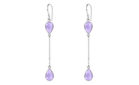 Orchid Jewelry 10-1/2 CTW pink amethyst sterling silver drop earrings 0a5813d8-f948-4415-8df3-9c63fb628e66