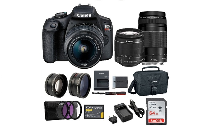 Canon Eos Rebel T7 With Ef 18 55mm And Ef 75 300mm Double Zoom Bundle