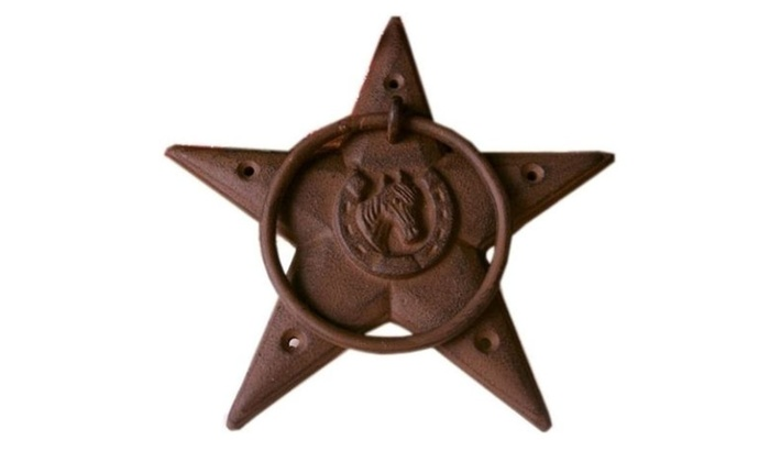 Set of 2 Large Heavy Rust Cast Iron Star Door Knocker Towel Ring  sc 1 st  Groupon & Set of 2 Large Heavy Rust Cast Iron Star Door Knocker Towel Ring ...