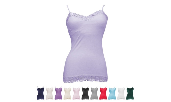 4e10c364f451d 5 Pack of Alexa Rae Lace-Trim Tank Top Camis with Built-In Bra | Groupon