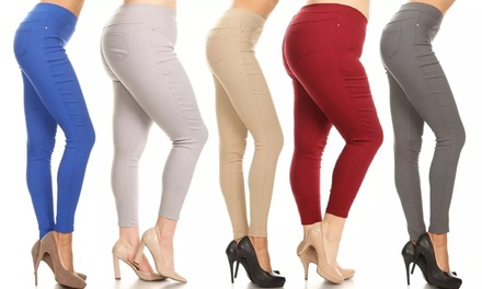 Women's High Waist Jegging Pull-On Stretch Skinny Pant With Plus