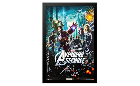 The Avengers Cast Signed Movie Poster Wood Framed with COA 63385f39-b0a9-4803-b2a0-bd318ab9cb20