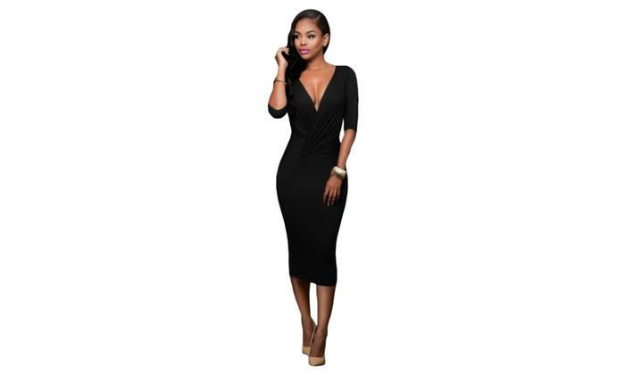 Women's Black Two-way Bodycon Midi Dress
