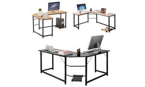 L-Shaped Office Study Furniture Laptop PC Computer Desk w/Flat Corner