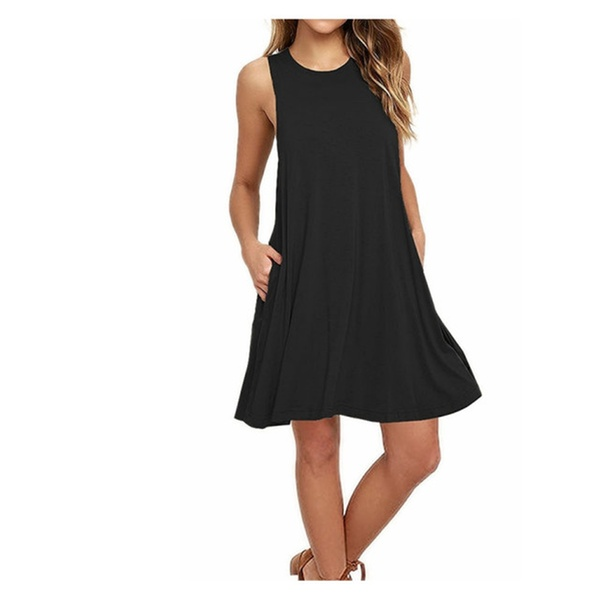 6fc5c84d51 Women's Sleeveless Pockets Casual Swing T-shirt Dresses Solid Color ...