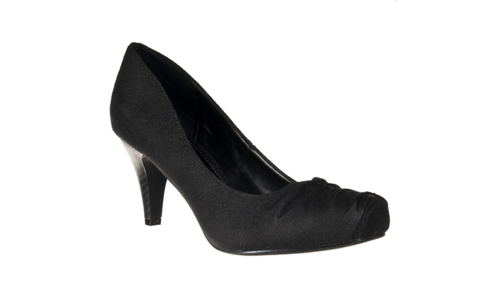 Riverberry Women's 'Array' Shirred Toe Microsuede Pumps, Black