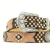 Ariat A1511802-L 1.5 in. Womens Bedecked Crackle Leather Overlay Belt Brown - La