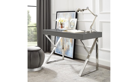 Jennifer High Gloss Desk with Polished Stainless Steel Base
