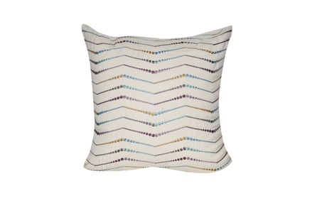 "Loom and Mill Home 22""x22"" Cream Beaded Chevron Decorative Pillow 9f530a33-4aee-403e-af20-9955bc2d5569"
