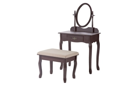 New Wood Make Up Vanity Table Set Jewelry Desk w/Stool Drawer 6d379438-33a5-464c-990d-38a61abe297b