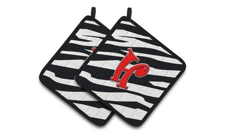 Carolines Treasures CJ1024-HPTHD Monogram Initial H Zebra Red Pair of Pot Holder photo