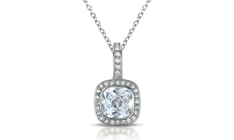 Sterling Silver clear Cubic Zirconia Square Necklace 1399a3f8-74a5-4bca-b2f1-dde4d28fcdb2