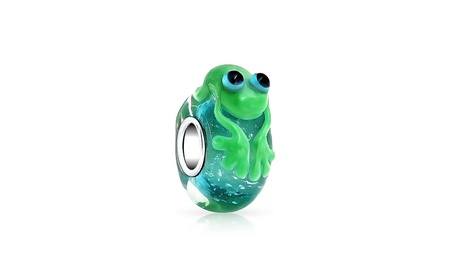 Bling Jewelry Sterling Silver Murano Glass Cute Green Frog a1b8da3e-6fc1-451a-9800-9b17f6296efc