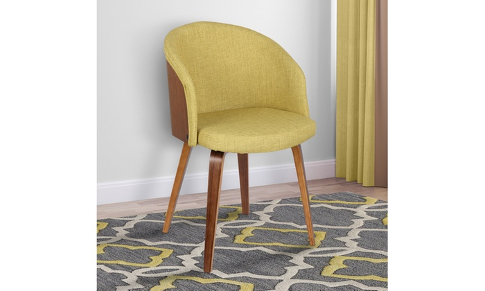 Astounding Alpine Mid Century Fabric And Walnut Wood Dining Chair Short Links Chair Design For Home Short Linksinfo