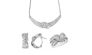 1/4 Cttw Diamond Set, Ring, Earring and Necklace in Brass-KK13FB0022