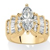 3.63 TCW Marquise-Cut Cubic Zirconia 14k Yellow Gold-Plated Ring