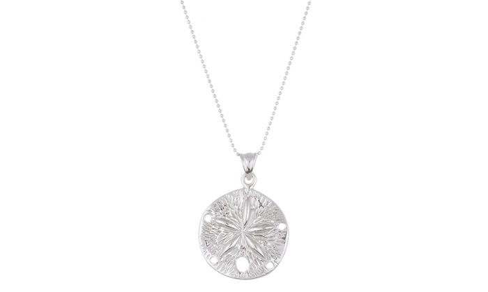 E coat sterling silver sand dollar pendant 18 cable chain necklace e coat sterling silver sand dollar pendant 18 cable chain necklace aloadofball Images