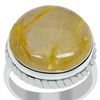 Orchid Jewelry 925 Sterling Silver Round Rutilated Quartz Ring