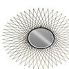 Metal Round Wall Mirror with Lattice Design Frame Metallic Black