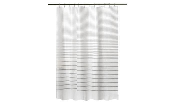 Bath Bliss Shower Curtain In White Stripe Design Groupon