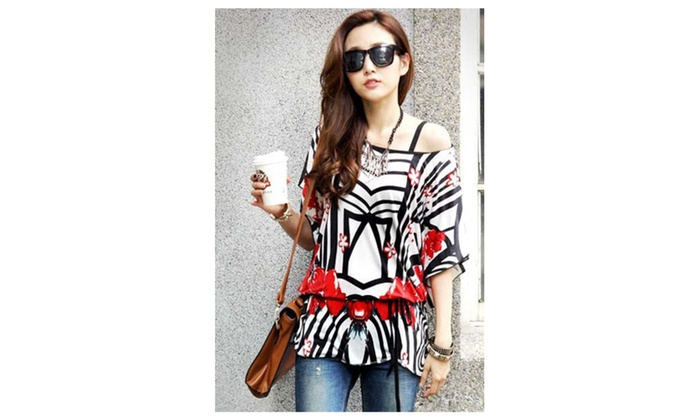 Women's Street Fashion Loose Fit Chiffon Blouse - one size