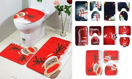 3 PCS Set Christmas Xmas Decoration Santa Toilet Seat & Cover & Rug Bathroom Mat