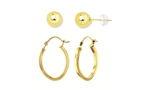 14K Solid Gold Ball and Squared Oval Hoop Earrings