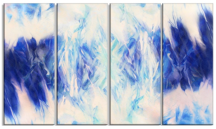 Blue Collage with Spots Abstract Metal Wall Art 48x28 4 Panels | Groupon