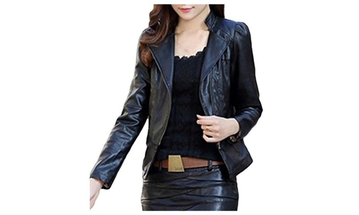Women's Long Sleeve Pu Leather Short Jacket Outerwear Coat