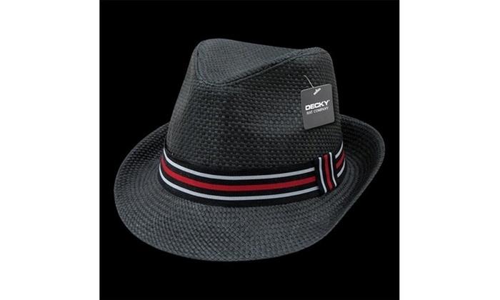 Decky 530-PAP-BLK-07 Paper Straw Fedora Hat Black - Large   Extra Large  Black Label Acrylic original.jpg 1f234084e8f