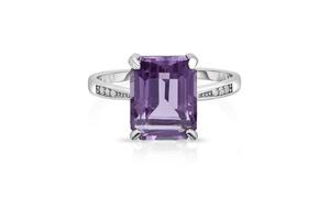 4.00 CTTW Genuine Amethyst Emerald Cut Sterling Silver Ring