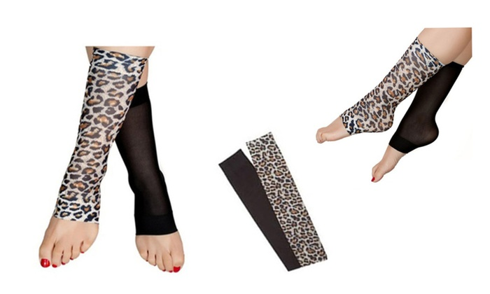 Women's Comfort Leopard Print Open Toe Compression Socks