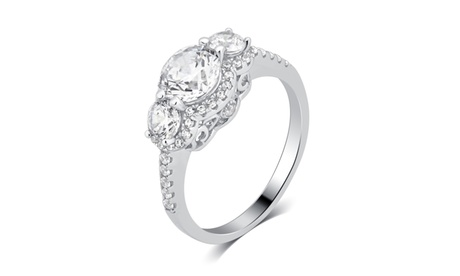 White Cubic Zirconia 3 Stone plus Ring Sterling Silver Fashion Jewelry for Women