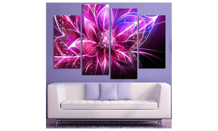 4Pcs Modern Purple 3D Flower Home Decorative Art Wall Paintings