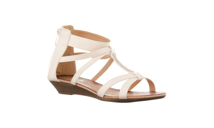 Riverberry Women's 'Landy' Strappy Wedge Sandals, White