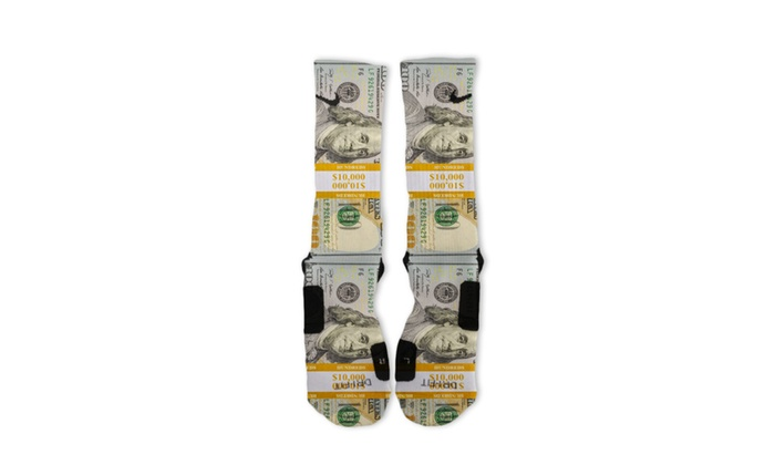 Custom Bands 100 Dollar Bill Benjamins Nike Elite Socks