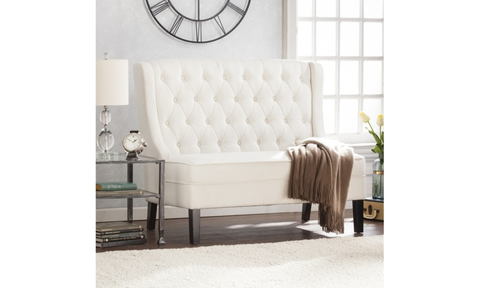 Linklea High Back Tufted Settee Bench Ivory