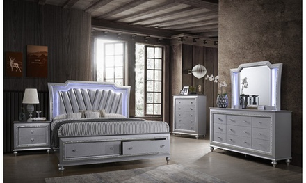 Fiorentino King Size 5 Pieces Bedroom Set with Storage Bed and LED Accent