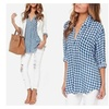 Checkered Blouse in Blue and White & Red and Black