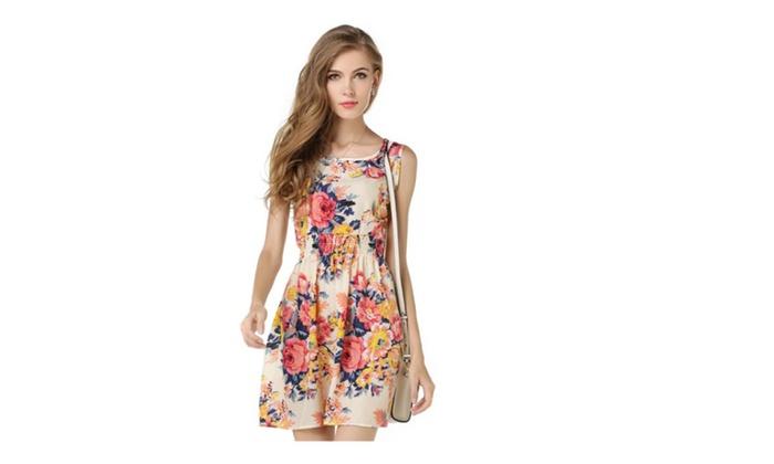 Women casual Bohemian Flower Round neck Sleeveless Vest beach Dress