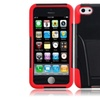 Insten For Iphone Black Red Hard Silicone Hybrid Case Cover W/stand