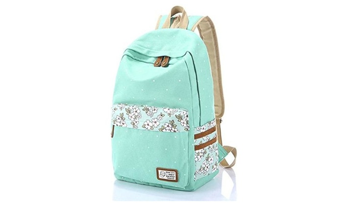 YARBAR Canvas Floral Printed Casual Daypack Backpack for Teenagers