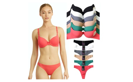 Uni Style Apparel Womens Full Cup Laser Cut Push Up Bra and Thong 8c9af80b-11f4-4ede-9c59-1feb3084a339