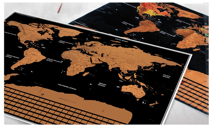 Scratch Off World Map Poster.Up To 81 Off On Scratch Off World Map Poster Groupon Goods