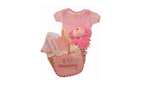 I Love Mommy Basket Gift Set - Hooded Towel, Onesie, Plush doggy, Bib 7683327f-ed39-43b7-9ed7-12742a32a16f