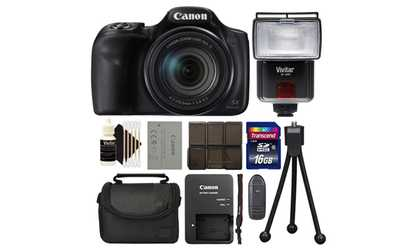 Shop Groupon Canon PowerShot SX540 HS 1080P 50x Zoom Digital Camera Black Bundle
