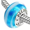 Sterling Silver 'Hang Ten!' Murano-style Glass Bead